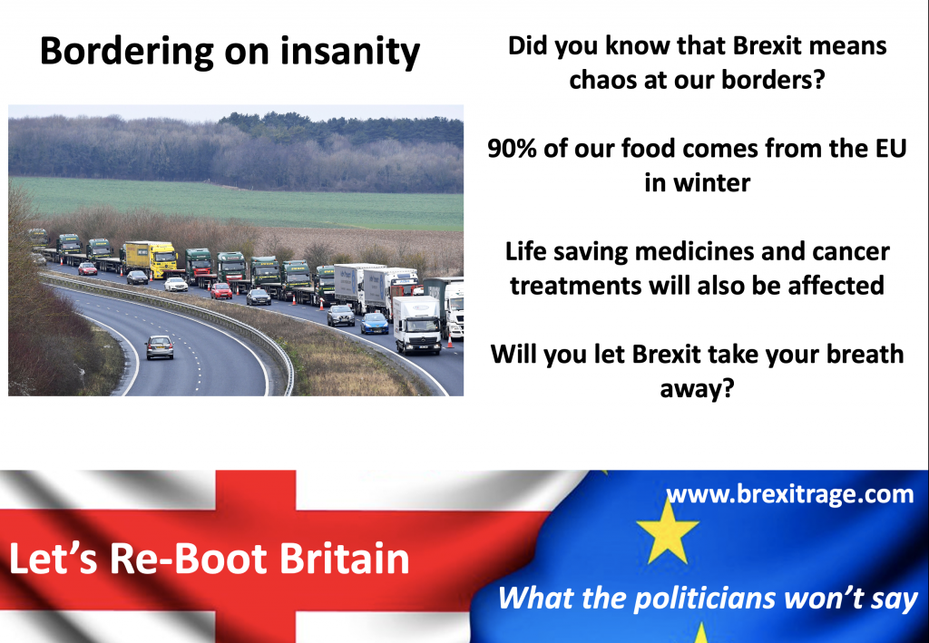 Did you know that Brexit means chaos at our borders?  90% of our food comes from the EU in winter  Life saving medicines and cancer treatments will also be affected  Will you let Brexit take your breath away?