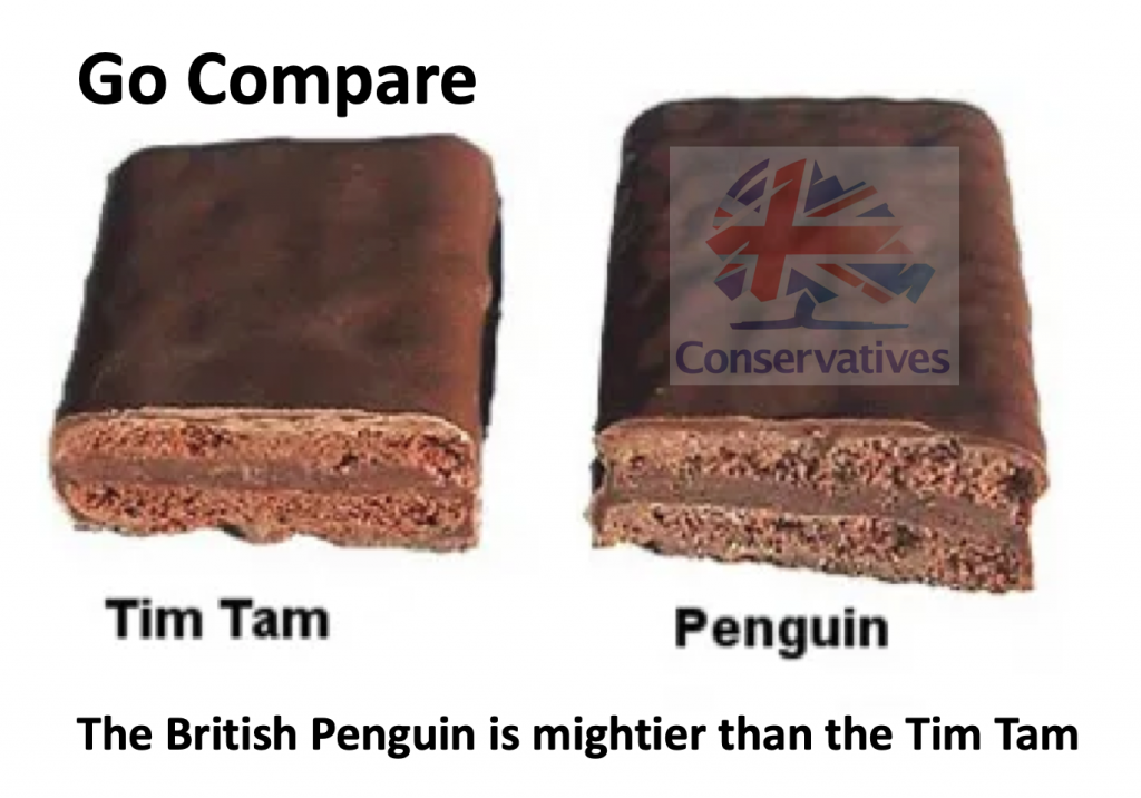 The Tim Tam is mightier than the Penguin according to Boris Johnson ,