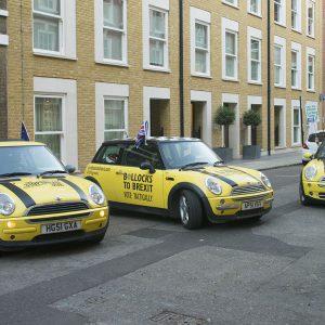 EU Flag Mafia anti-brexit minis tour London.